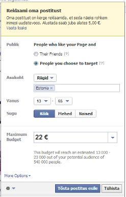Postituse reklaam Facebooki ajajoonel