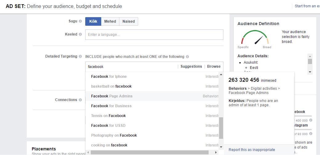 Reklaami sihtimine Facebookis