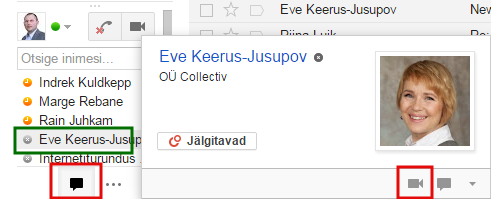 Hangoutsi alustamine gmailis