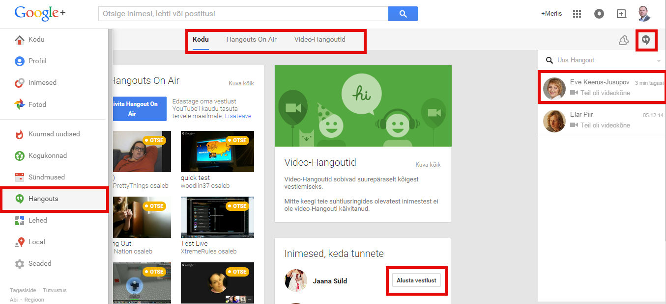 Hangoutsiga alustamine Google Plussis