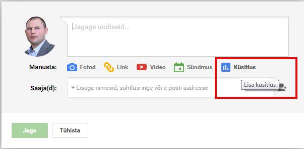 Google Plus Küsitluse loomine
