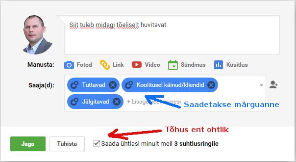 Google postituse sihtimine
