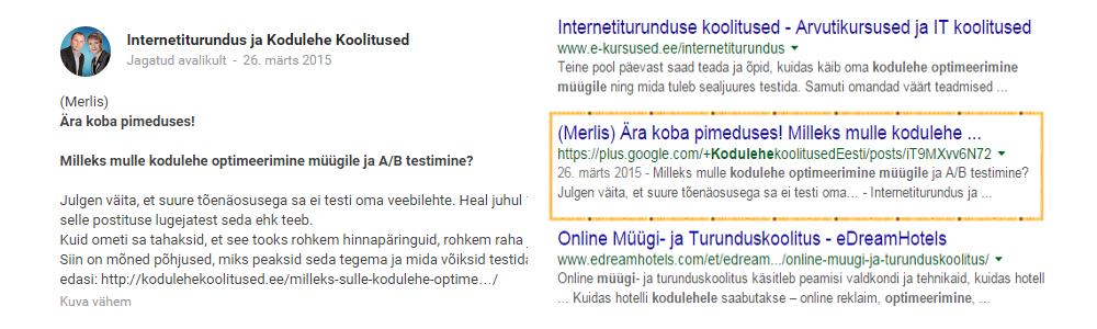 Lisa Google Plusis pealkiri