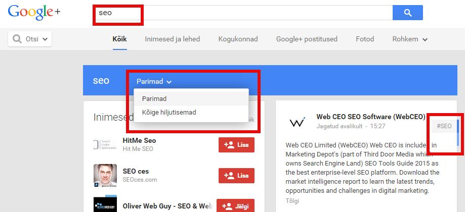 SEO otsing Google Plusis