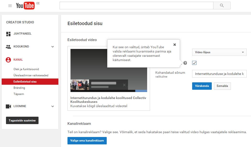 Esile toodud video YouTubes