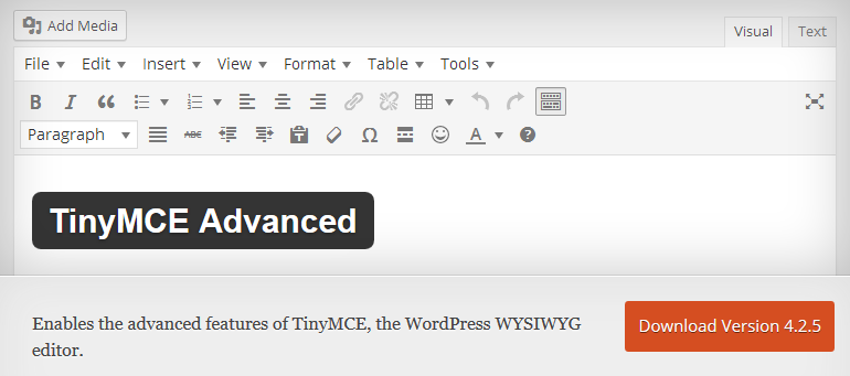 TinyMCE Advanced_WordPress Plugin