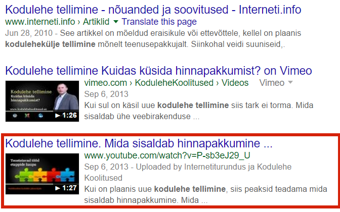 YouTube video koht Googles