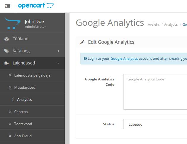 OpenCart_Google Analytics_2