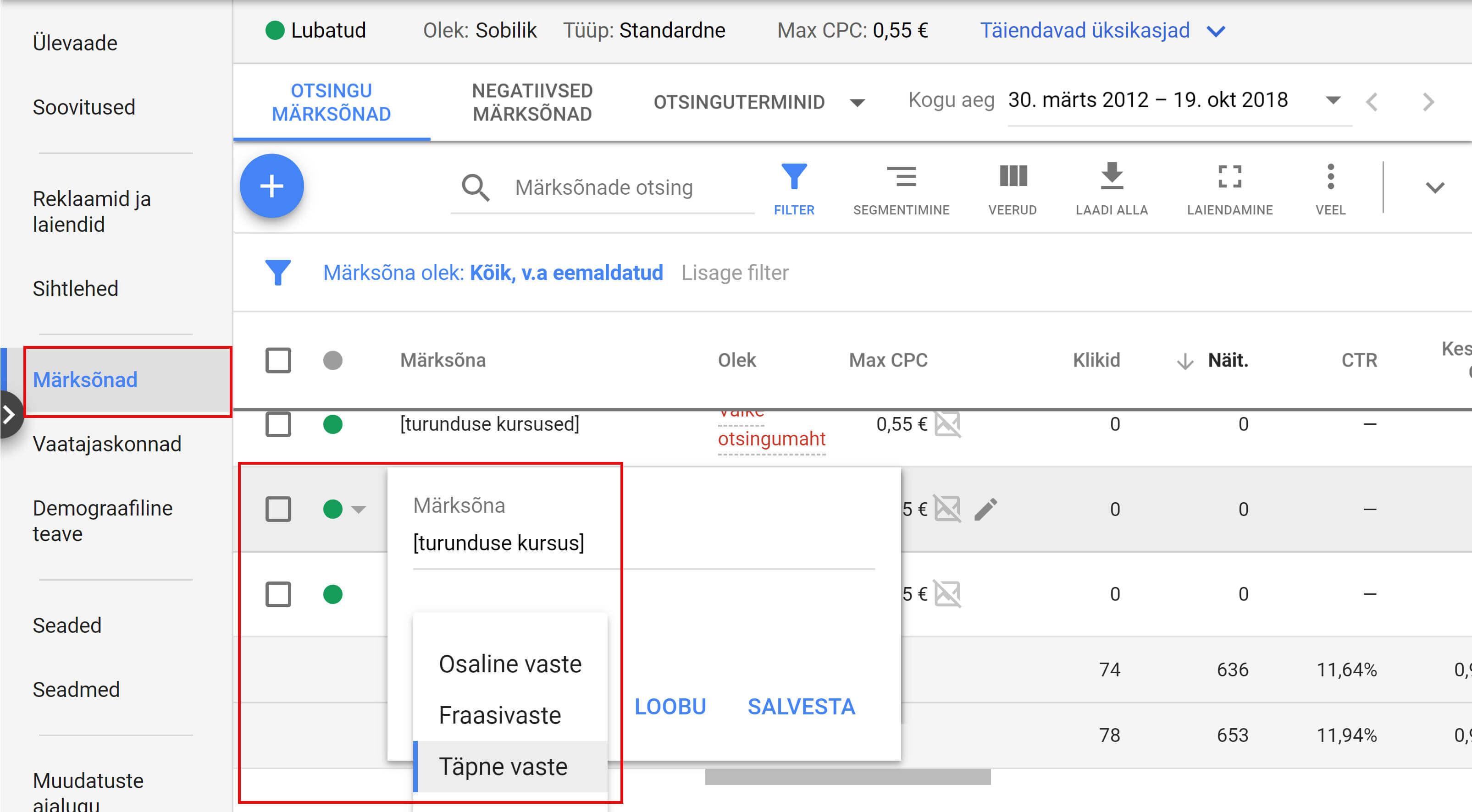 Täpne reklaami sihtimine Google Adsis