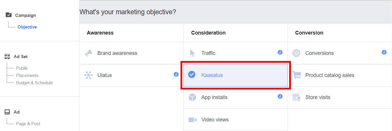 Facebooki reklaami eesmärk