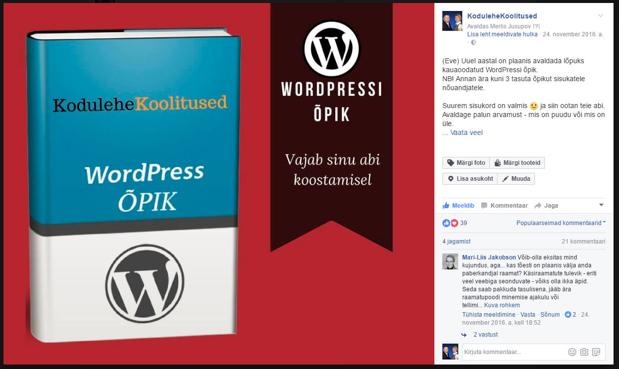 WordPressi õpiku küsitlus