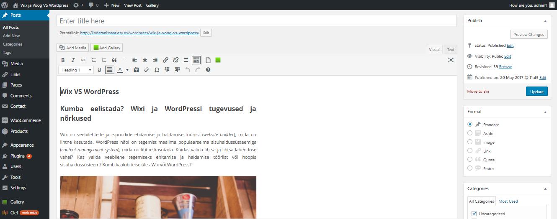 11a297fc67e Wix vs WordPress? Kummaga siis võtta ette veebilehe tegemine?