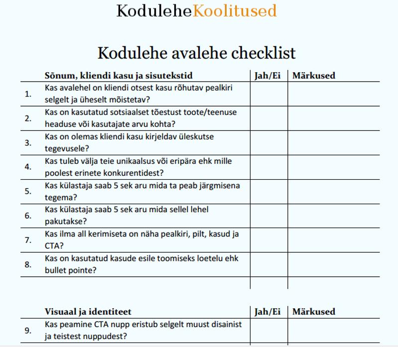 Kodulehe avalehe checklist