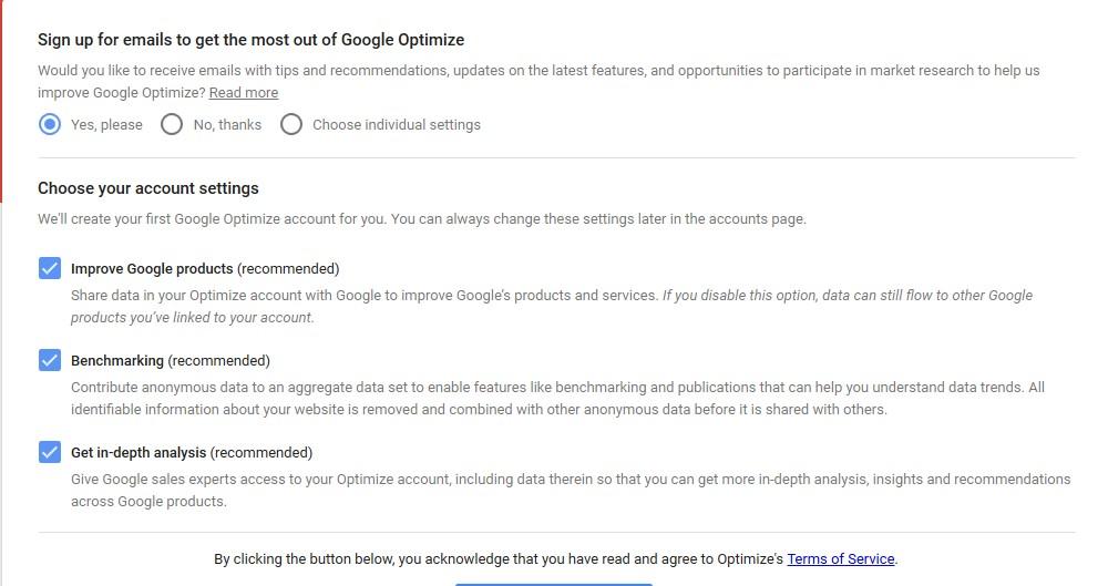 Kodulehe testimine Google Optimizeriga