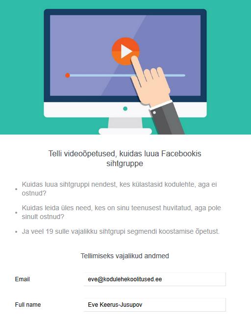 Facebook Lead Ad vormi tegemine kontaktide kogumiseks