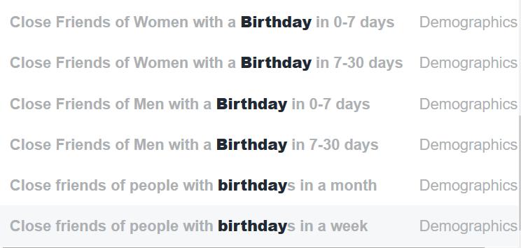 Sihtrühmade koostamine sünnipäevade alusel