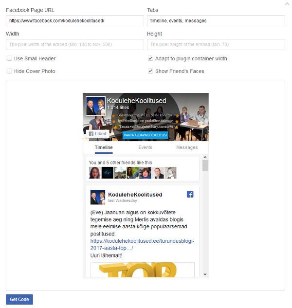 Facebooki Page Plugina seadistamine