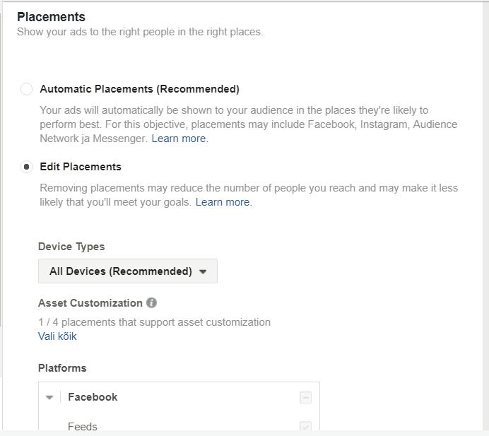 Facebooki reklaami asukoht
