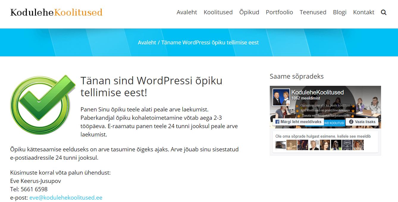 Wordpressi õpik tänan leht