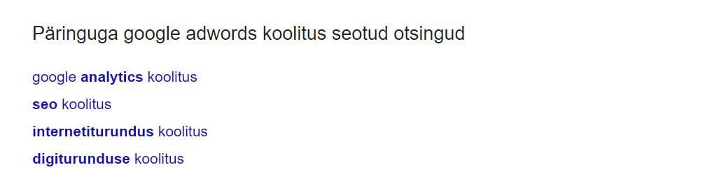 Seotud sõnade otsingud Googles