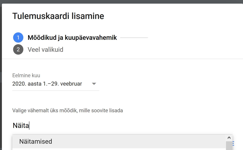 Mõõdikute lisamine Google Adsis