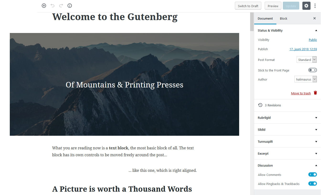 WordPress 5.0 ja Gutenberg