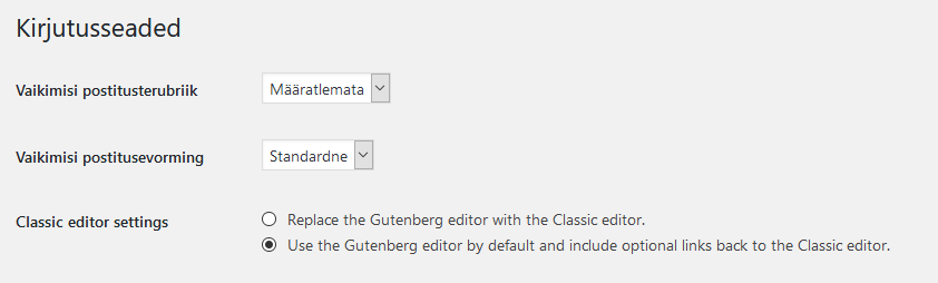 WordPress Classic Editor seaded