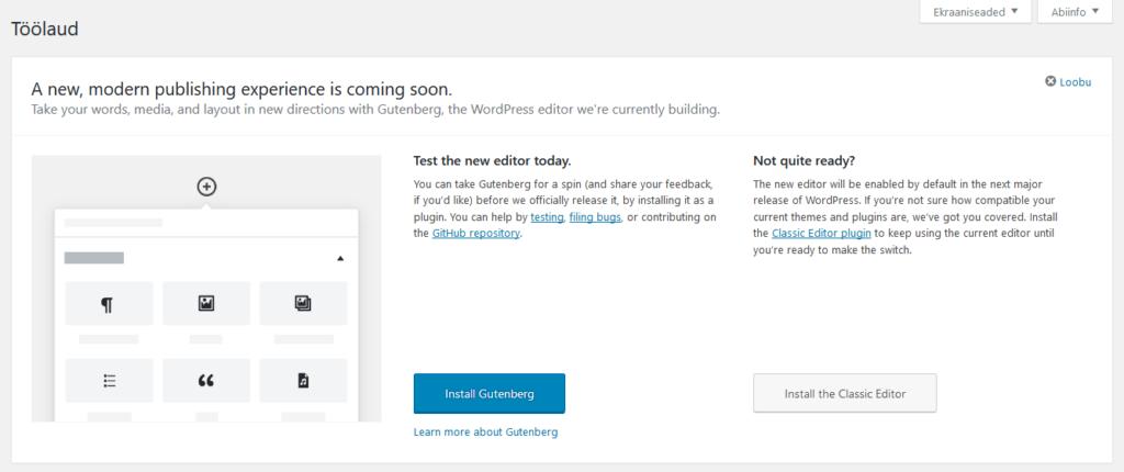 WordPress 4.9.8 soovitab testida Gutenbergi