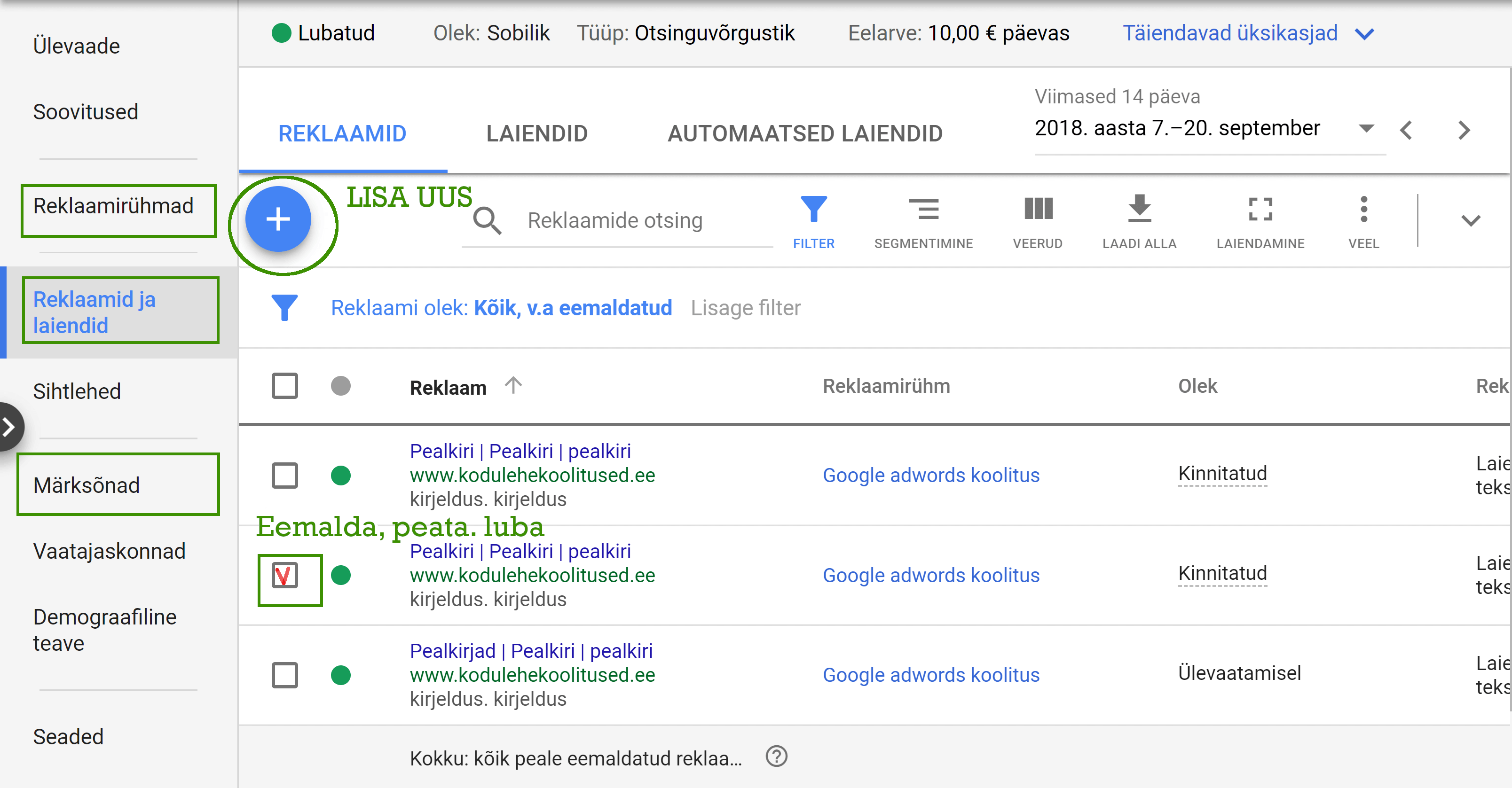 Google Ads kampaania haldamine