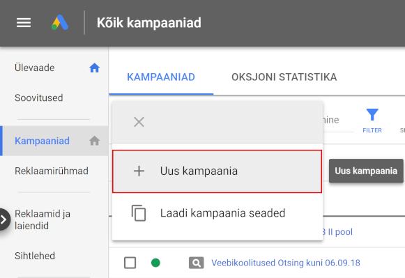 Google Ads Uue kampaania loomine