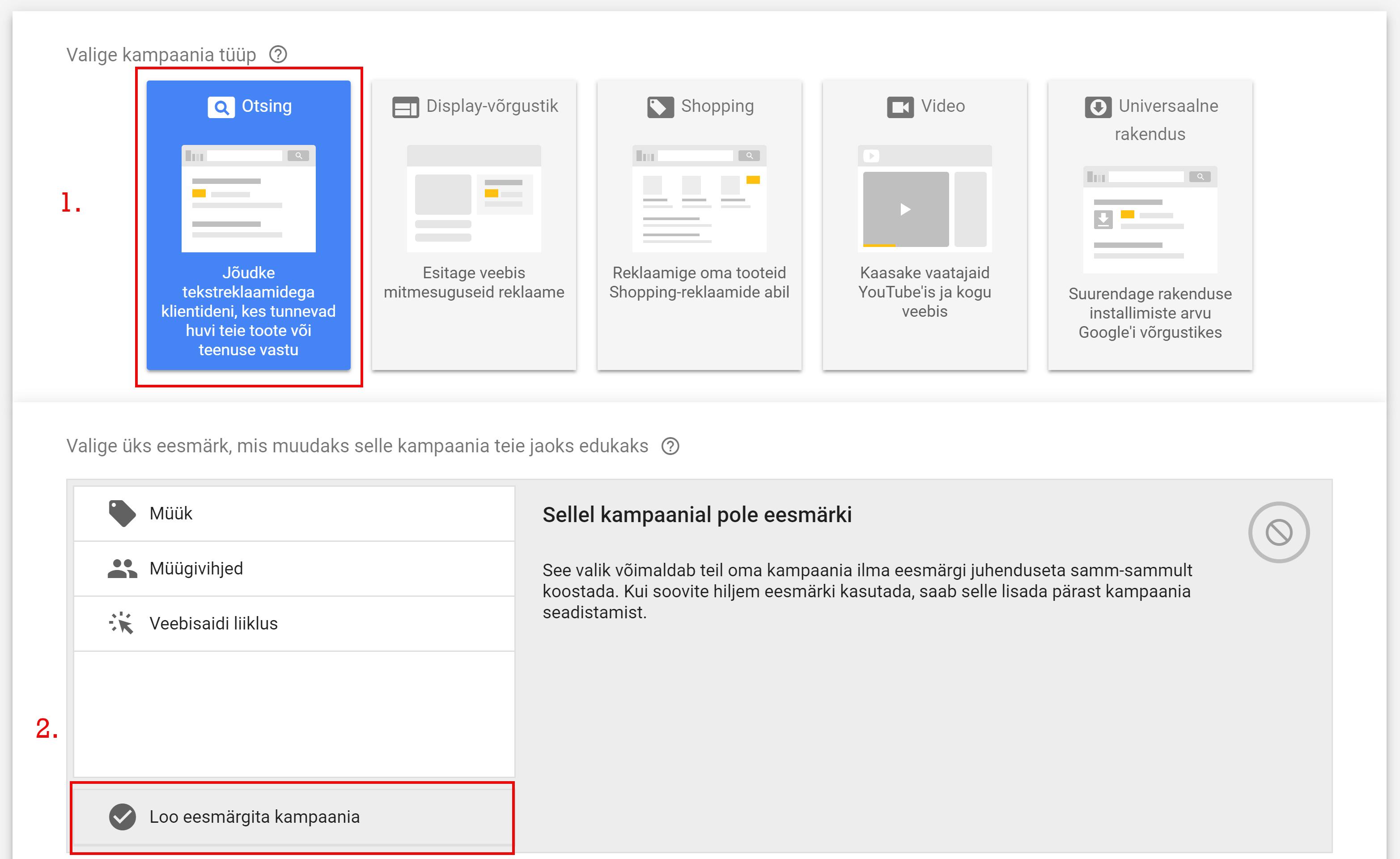 Google otsingureklaam ehk reklaam Google otsingutulemuste kohal