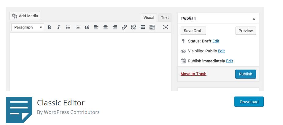 WordPress 5.0 - Classic editor