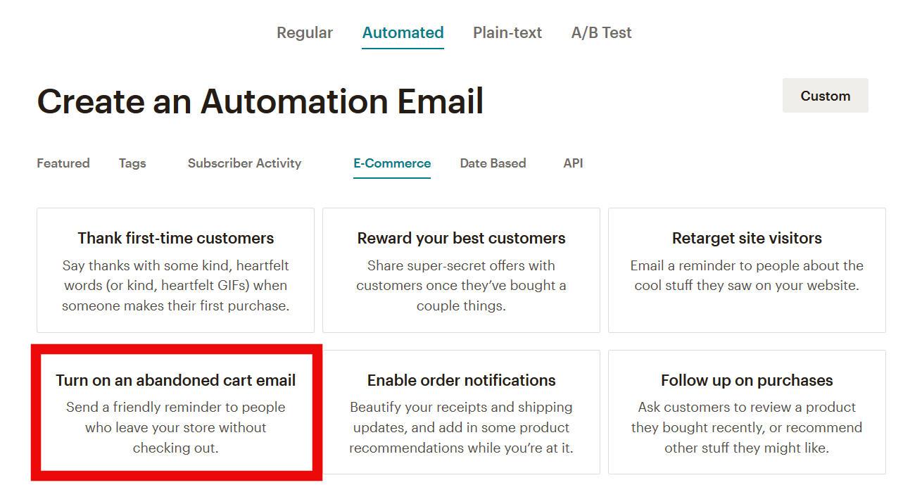 automatiseeritud e-kirjad MailChimpis