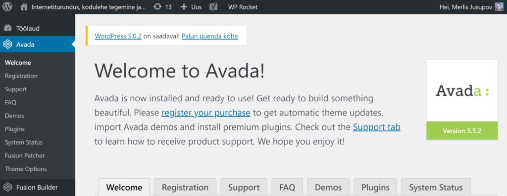 Avada kujunduse ja demo installeerimine WordPressis