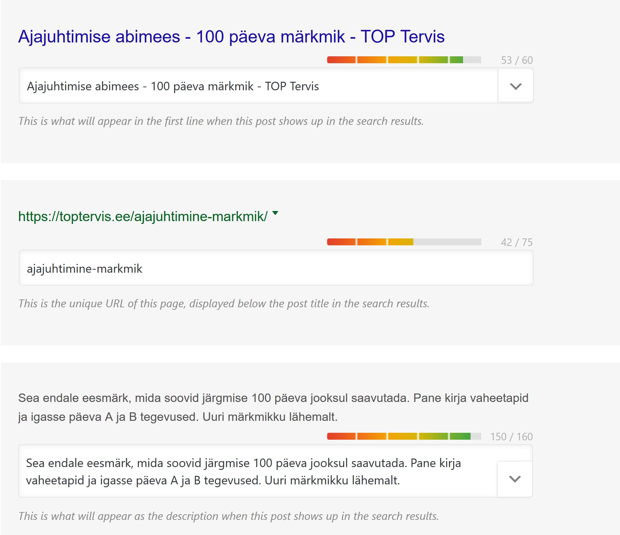 Rank Math SEO plugina metaandmete eelvaade