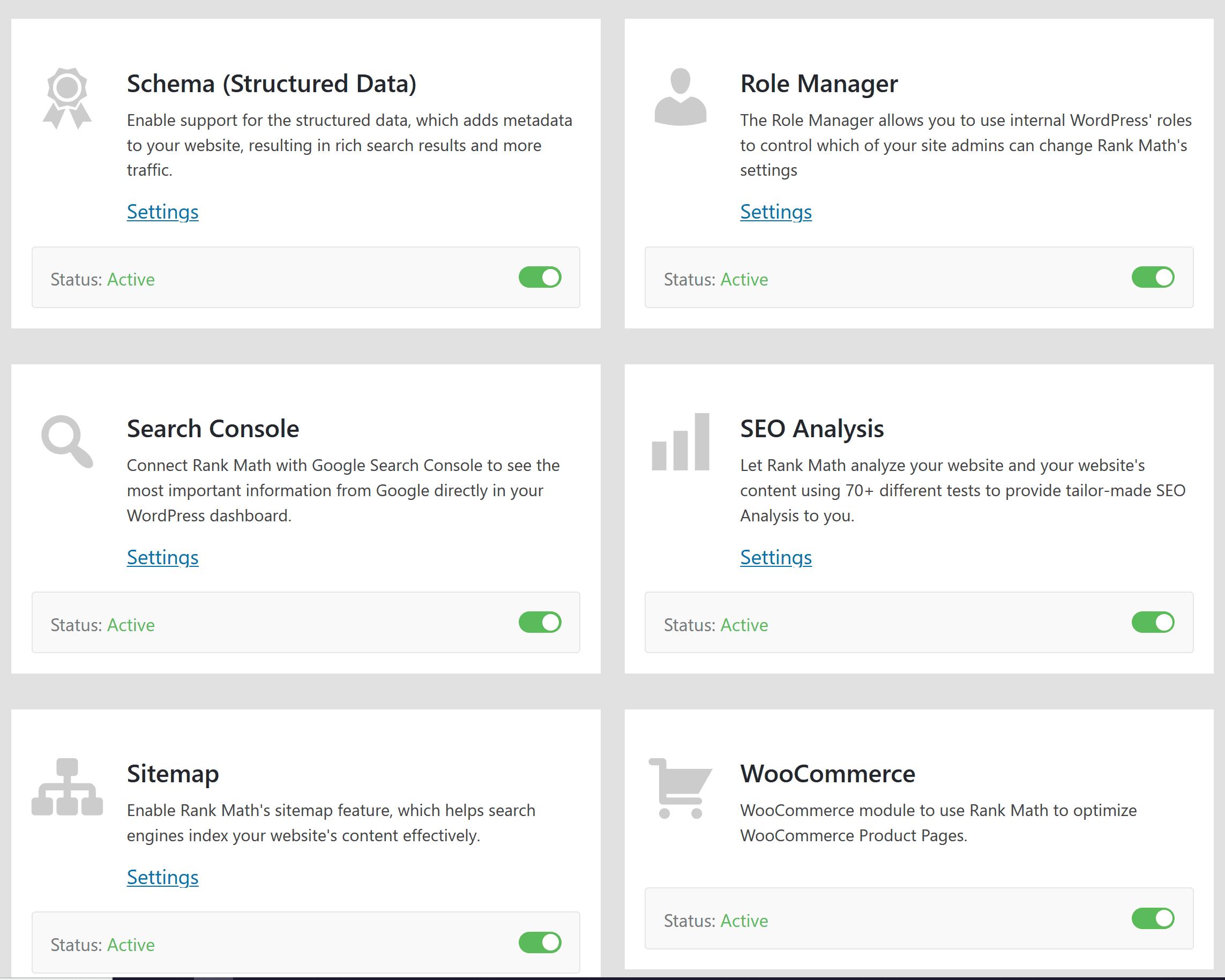 Kasutajaliides Rank Math SEO pluginal