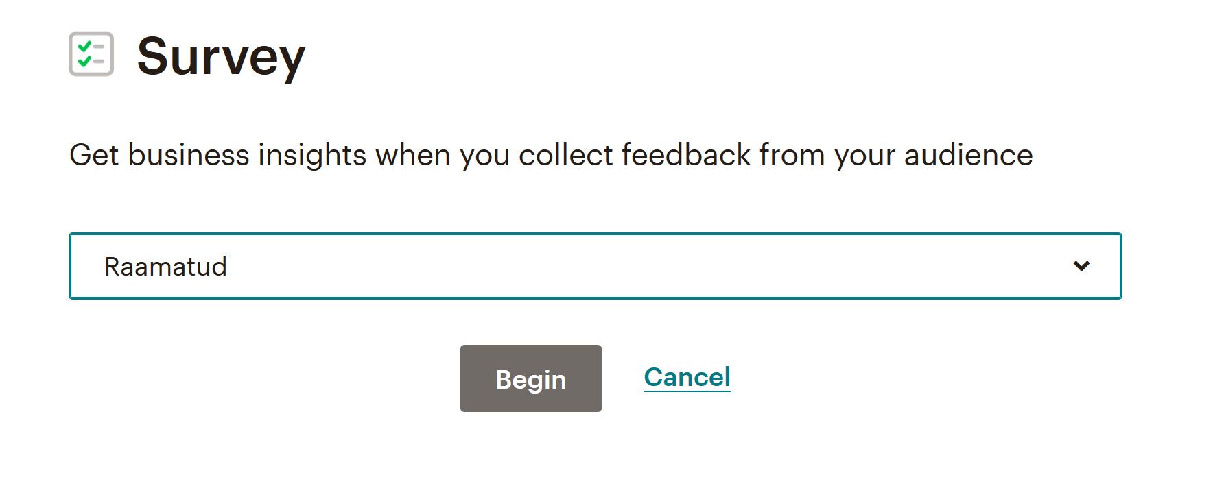 Poll ehk küsitlus klientide seas Tarkvaraga MailChimp